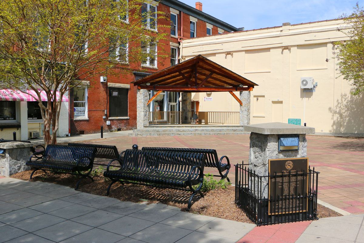 Downtown Stage and Memorial Pavers in Lenoir
