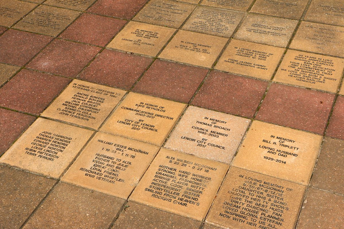 Close up of Memorial Pavers in Downtown Lenoir