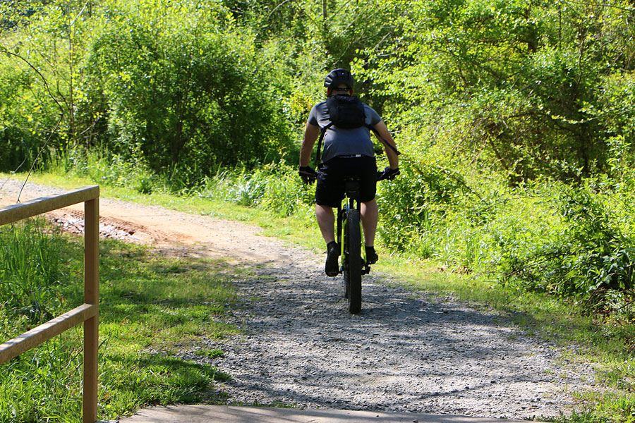 A man mountain biking on Zacks Fork trail on the Lenoir Greenway