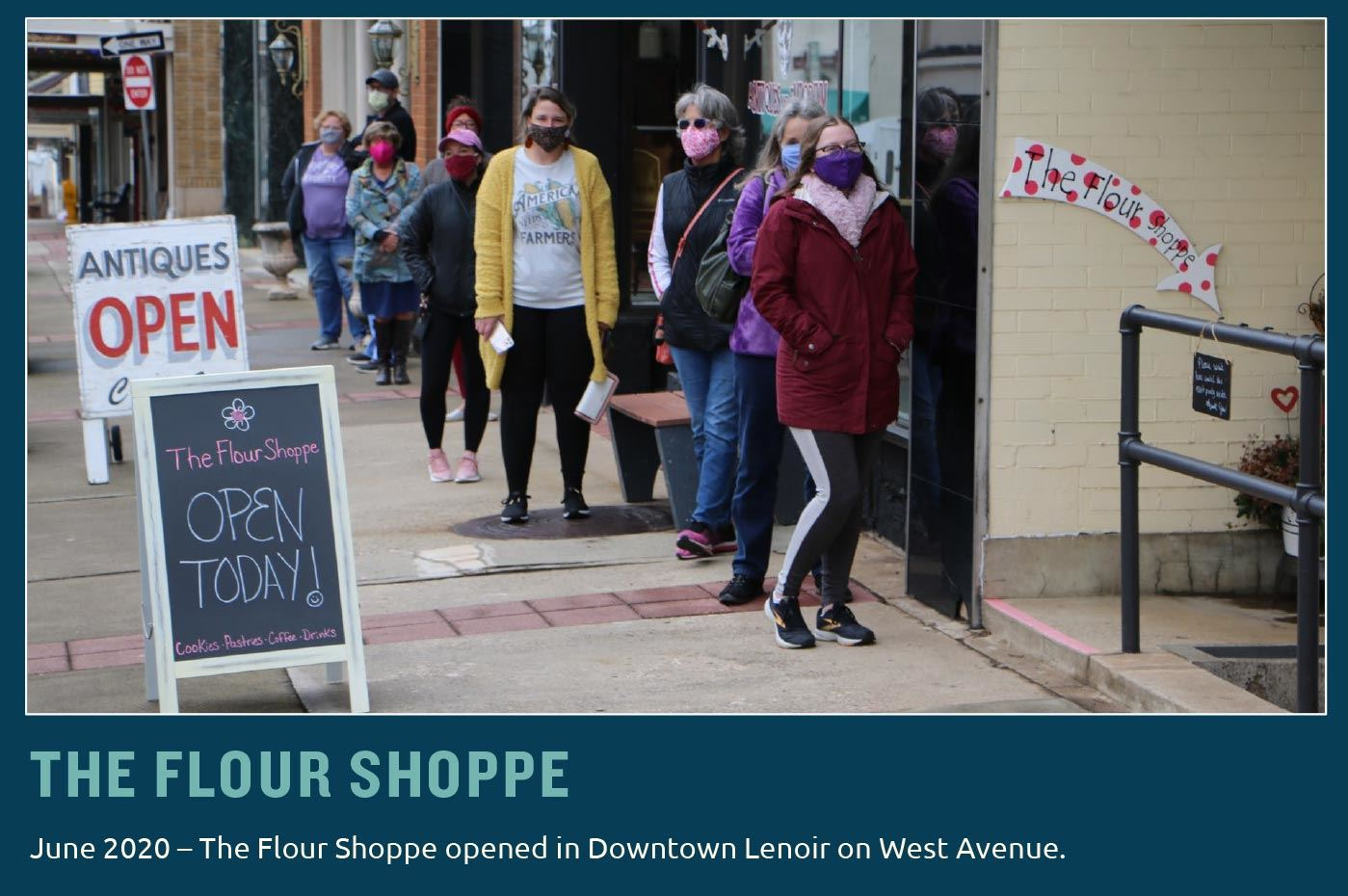 A slide showing people lined up outside The Flour Shoppe in Downtown Lenoir